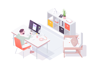 Noon character office homeoffice work illustration isometric rocketboy rboy