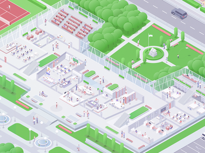 Green Campus future green character school campus work illustration isometric rocketboy rboy