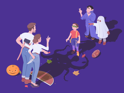 Trick or Treat ax knife designer affinity characters halloween illustration isometric rocketboy rboy