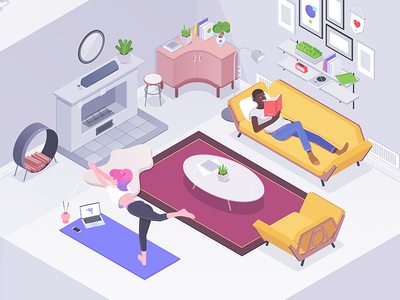 Living room yoga sofa chair designer affinity living room illustration isometric rocketboy rboy