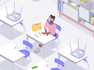 Schoolgirl quality air character desk classroom rocketboy rboy school isometric illustration designer affinity