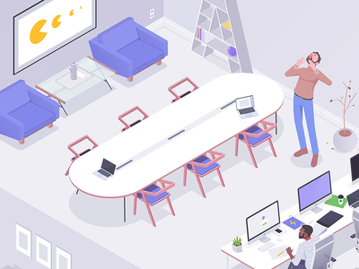 Conference room office work rocketboy rboy quality isometric desk designer room conference character affinity