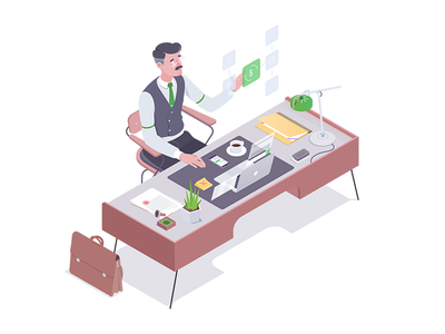 Payments money tax chair designer affinity accountant office illustration isometric rocketboy rboy