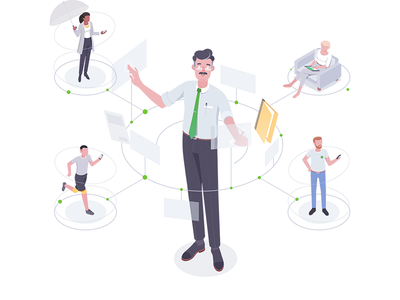 Connect tax services web affinity characters connect illustration isometric rocketboy rboy