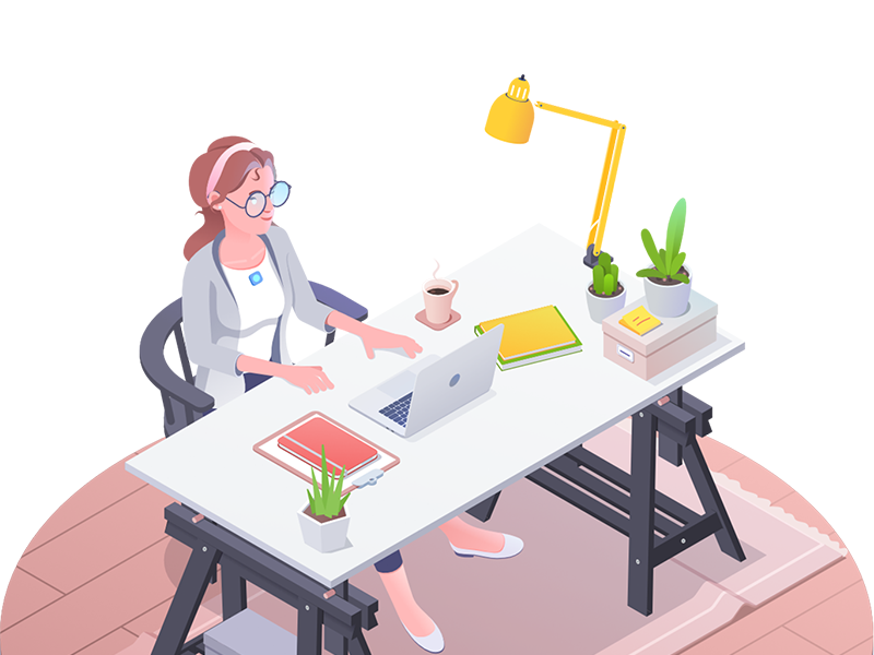 The yellow lamp flower workplace language character lingco yellow lamp girl illustration isometric rocketboy rboy