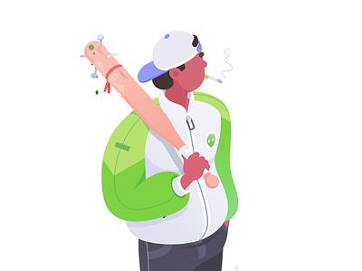 Hunter green alien hunter affinity character illustration isometric rboy rocketboy