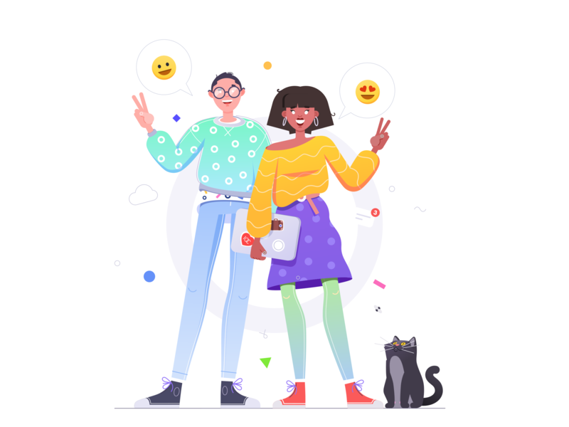 Hi there! design affinity smile welcome cat characters illustration 10clouds