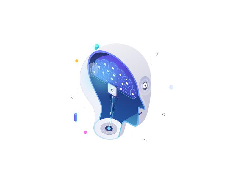 Machine Learning affinity designer vector robot design set icon machine learning web 10clouds