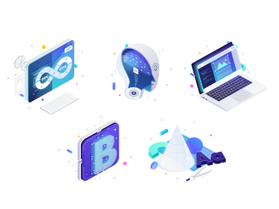 Services icon set illustration icon set isometric devops machine learning blockchain product design website 10clouds