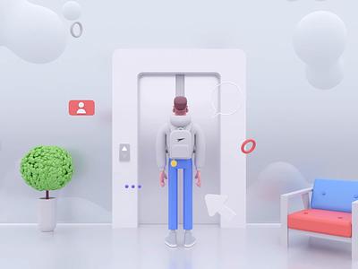 Let's start! sky motion design c4d animation 10clouds 3d illustration rocketboy