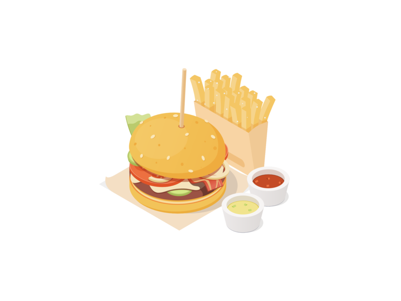 Burger burger cheese bacon vector affinity illustration isometric rboy rocketboy