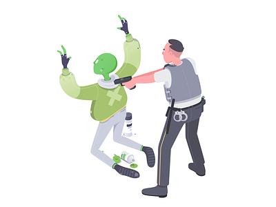 LGM #1 revolt police ufo etc character affinity illustration isometric rboy rocketboy