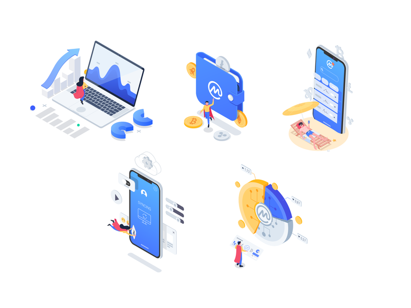 Coin Market Cap - Illustrations bars money states statistic hero smartphone laptop isometric isometric icons character design icons illustration product design wallet crypto