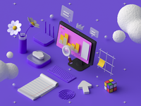 10Clouds: 3D Services #2 search cloud flovers render note workspace arrow corona c4d 3d illustration isometric