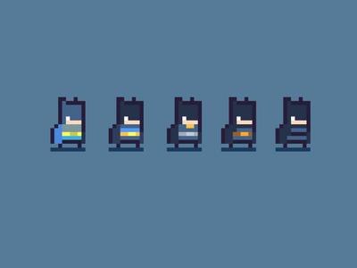 Batman insired suit designs - pixel character design
