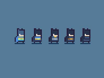 Batman insired suit designs - pixel character design gamedev pixelart arcade retro character art pixel game design