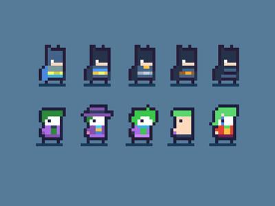 Batman and Joker like Designs - Daily Pixel Character gamedesign game art joker batman gamedev pixelart graphic arcade retro character art pixel game design