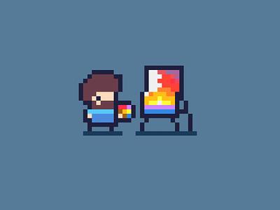 Rob Boss - Daily Pixel Character bob ross pixelart arcade retro character art pixel game design