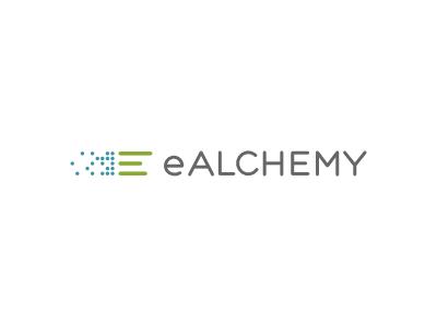 eALCHEMY alchemy e data green blue custom type lettering money bargraph bar graph logo identity branding brand clean minimal tech sans dots pixels transform transformaton visualization consulting
