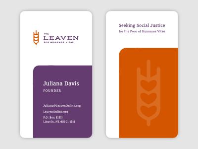 Leaven Business Cards business cards leavean rounded logo charity church god heart wheat watermark purple orange branding luma vine creative brand typography identity lettering