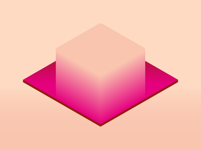 Cube gloss abstract symbol mark shine gradient 3d isometric bend cube