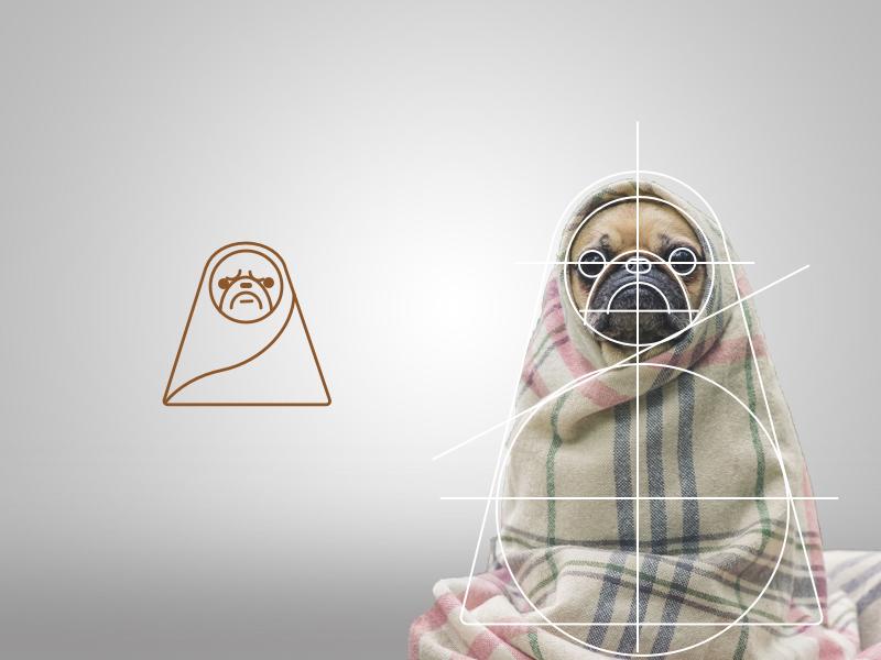 Pug Grid stroke pug logo knitting knit head grid geometric shapes cute dog animal