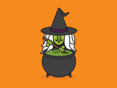 Witch simple illustration line drawing orange graphics line cute problem solver halloween brew solution witch