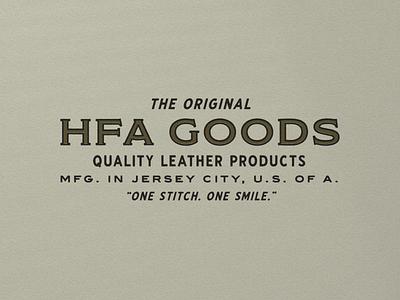 HFA Goods 001 leather wordmarks branding vintage wordmark logo typography design