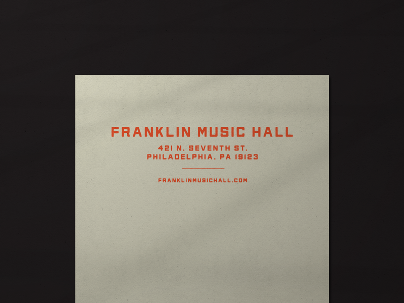 Franklin Music Hall 002 electricfactory philadelphia philly music heritage timeless stationery letterhead design