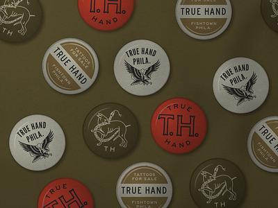 TH Buttons typography tattoo pin button buttons vicsteinmandesign truehanddesign design