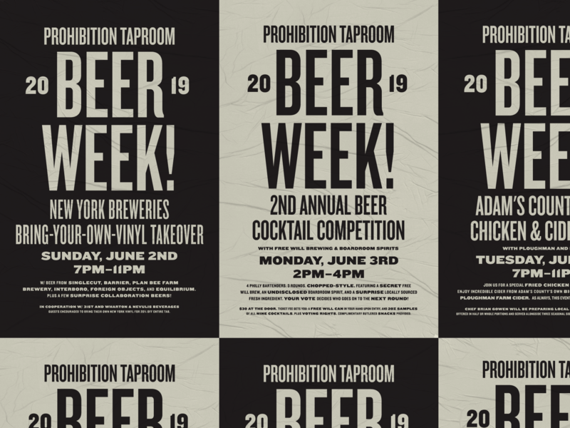 Beer Week! beer wheatpaste poster knockout typography design