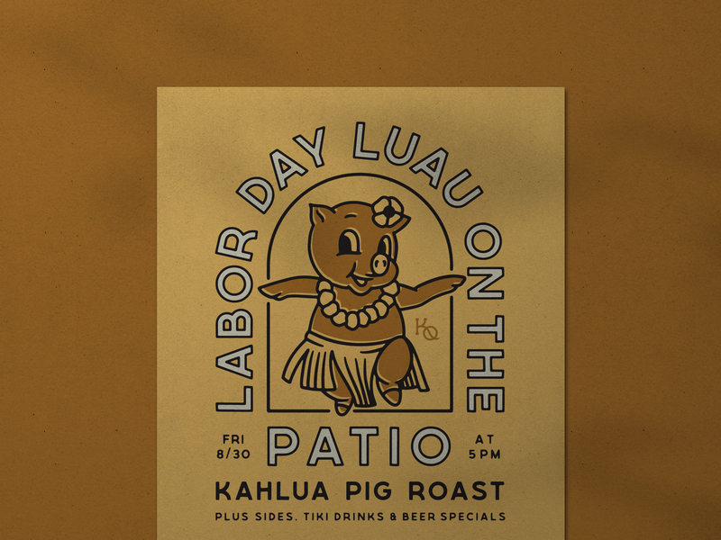 Pig Roast Poster branding hawaii hawaiian luau vintage pig poster illustration typography design