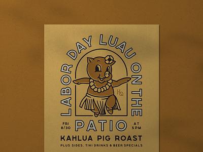 Pig Roast Poster branding hawaii hawaiian luau vintage pig poster illustration typography design