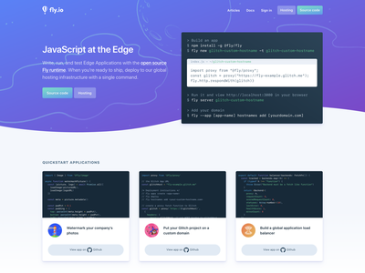 Fly.io Landing Page cards space illustration code gradient landing page fly.io