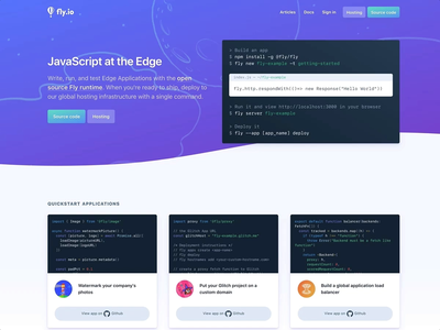 Fly.io Code Sample Update cards gradient fly.io landing page design landing page hover state code samples code