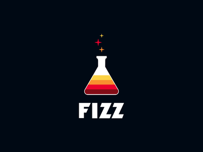 Fizz Logo Concept A fizzy stars chemistry gradient flask vector logo fizz