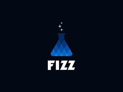 Fizz Logo Concept B fizzy gradient flask stars diamonds vector logo fizz