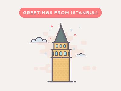 Greetings From Istanbul! line art turkey istanbul galata tower illustration