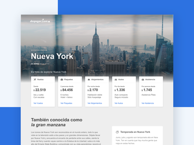 Landing de Destino  |  Desktop decolar despegar new york responsive app ux ui design