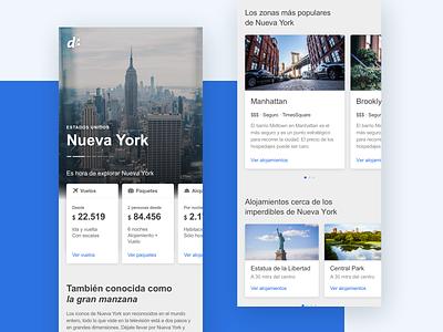 Landing de Destino  |  Site Mobile decolar new york despegar ux mobile app ui design