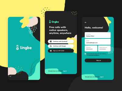 Sign up | Lingbe welcome account facebook google sign up email full name password dots vector ux mobile app ui design login start illustration lingbe signup