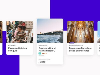 Nuevo diseño de Cards barcelona discount card card ui design activities app hotel flights travel despegar cards