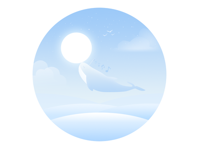 Alice music alice whale water sea rays mood lonely illustration dream animal