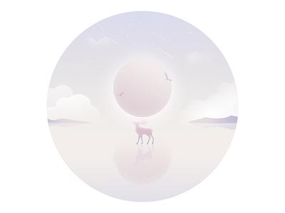 Strange Planet strange water sea rays mood lonely illustration dream animal plant