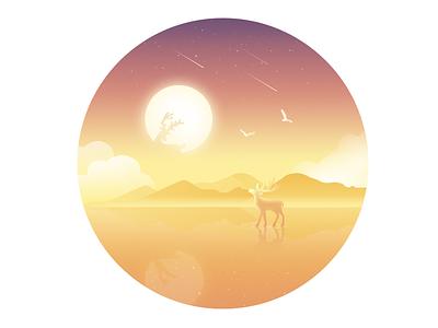 Deer water strange sea rays mood lonely illustration dream animal