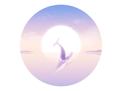 Tail whale water sea rays mood lonely illustration dream animal