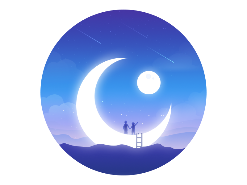 Child planet star mountain child night moon magic illustration dream