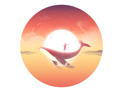 Surround surround child whale water sea rays mood lonely illustration dream animal
