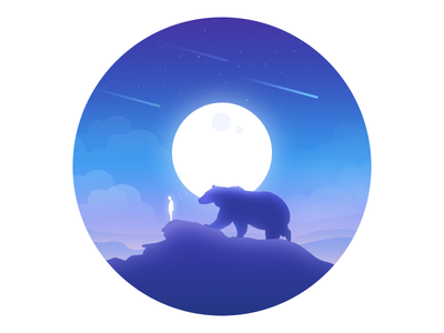 Accompany friend people moon lonely illustration hill dream animal