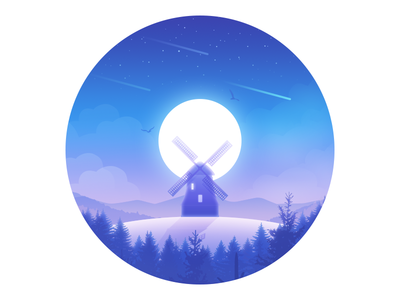 Windmill forest windmill moon lonely illustration hill friend dream